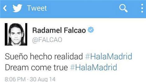 فالكاو ينفي نشره لتغريدة أكدت انتقاله لريال مدريد