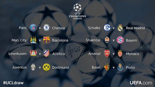 قرعة ثمن نهائي دوري أبطال أوروبا