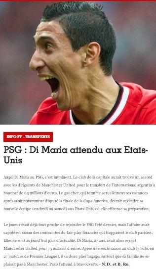 أنباء عن حسم صفقة دي ماريا مع باريس سان جيرمان