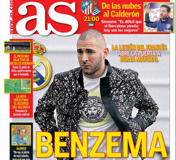 """صحيفة """"أس"""" تصدم عشاق ريال مدريد بمدة غياب بنزيمه"""