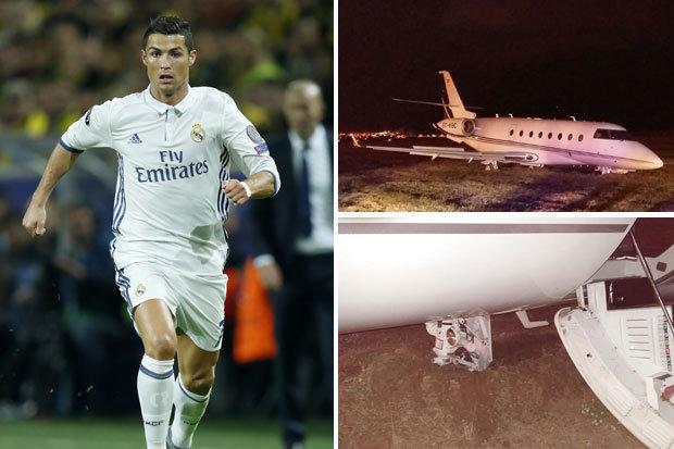 بالصور: طائرة رونالدو تتعرض لحادث في برشلونة