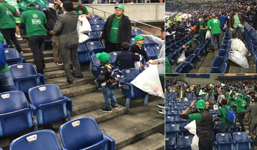 بالصور: تصرف حضاري من جماهير السعودية بعد الخسارة من اليابان