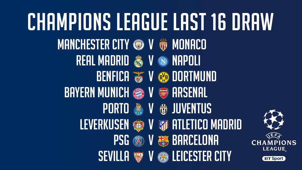 عاجل: نتائج قرعة دور الـ 16 لبطولة دوري أبطال أوروبا