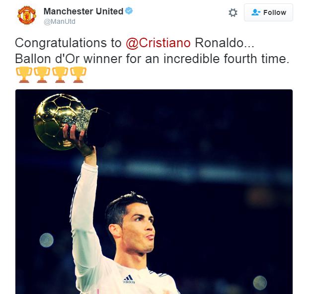 صورة … مانشستر يونايتد يهنئ رونالدو بالكرة الذهبية الرابعة