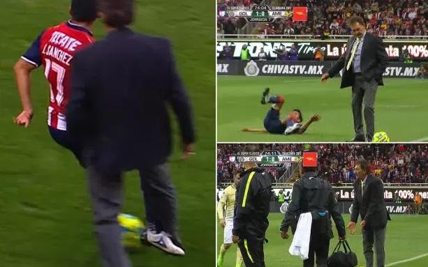 شاهد: مدرب أرجنتيني يعرقل لاعب الخصم عند حدود الملعب