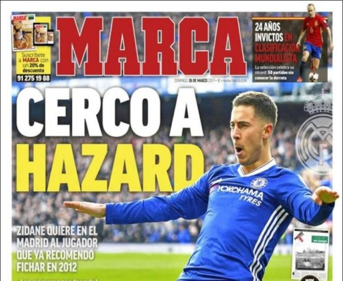 """صحيفة """"ماركا"""" … ريال مدريد يبدأ عملية التعاقد مع هازارد"""