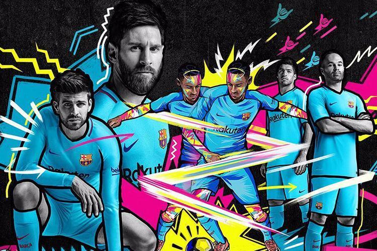 بالصور … برشلونة يكشف عن قميصه الثاني للموسم الجديد