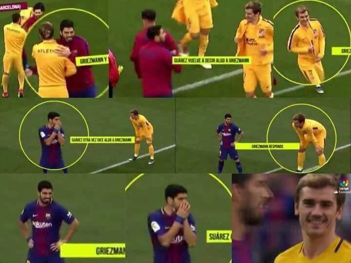 شاهد …  الحوار الذي دار بين سواريز وغريزمان خلال مباراة برشلونة وأتلتيكو