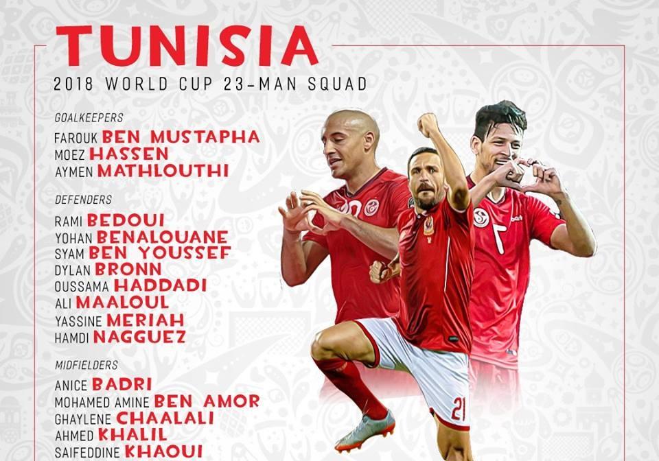 رسمياً … قائمة منتخب تونس النهائية لمونديال 2018