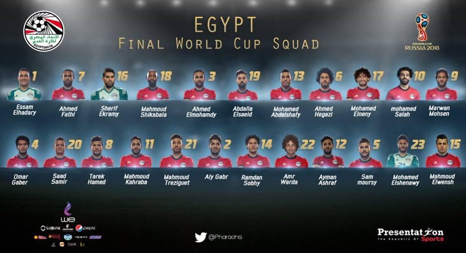 تعرف علي القائمة النهائية لمنتخب مصر في المونديال