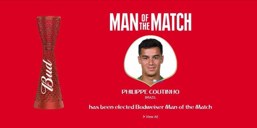 رسمياً … فيليب كوتينيو يتوج بجائزة رجل مباراة البرازيل وسويسرا