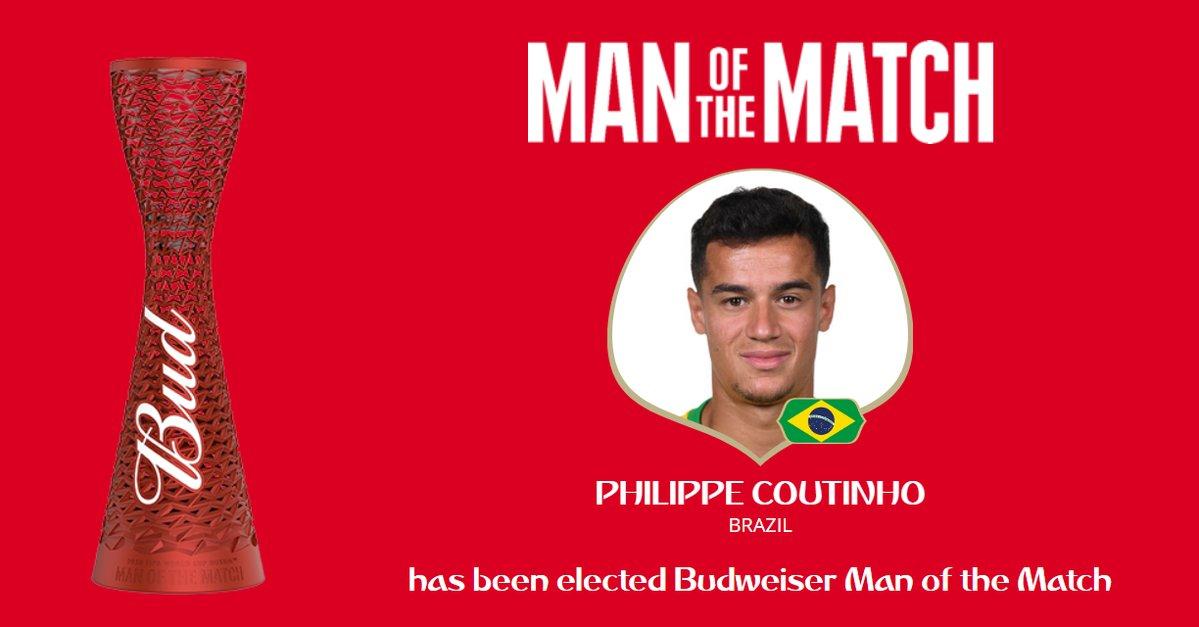 رسمياً … فيليب كوتينيو رجل مباراة البرازيل وكوستاريكا