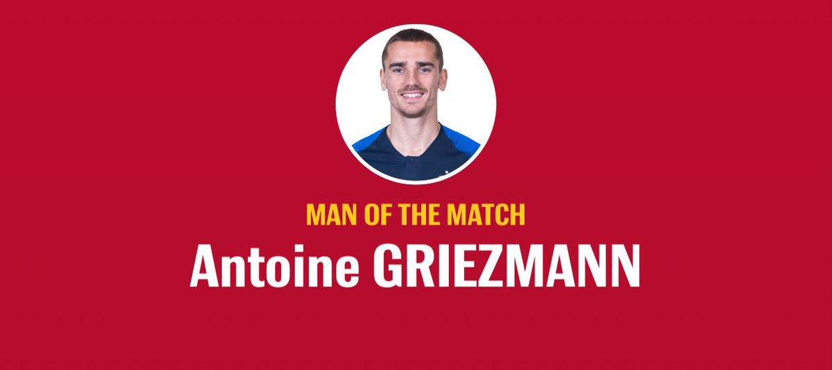 رسمياً … انطوان جريزمان رجل مباراة فرنسا والاوروجواي