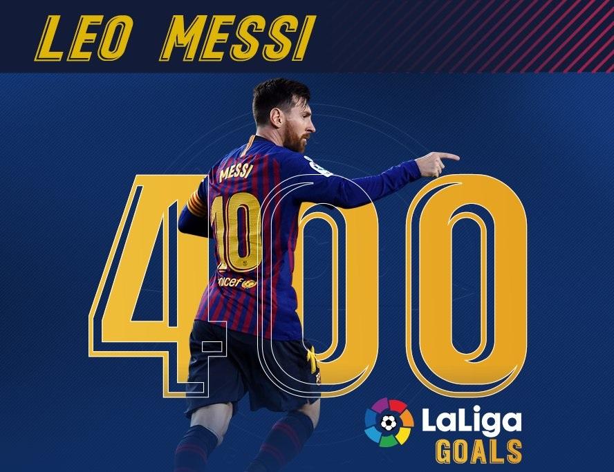 شاهد … ميسي يسجل الهدف الـ 400 في الدوري الإسباني