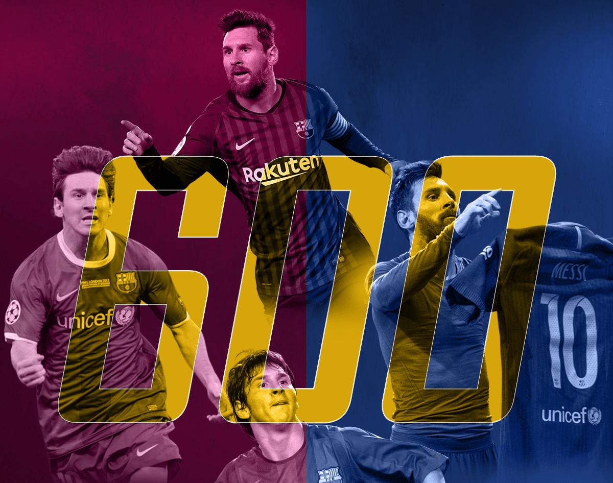 ميسي يصل إلى 600 هدف مع برشلونة
