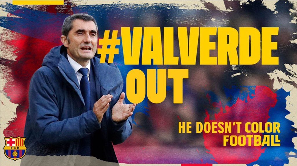 """جماهير برشلونة تطلق حملة على تويتر للإطاحة بالمدرب """"فالفيردي"""""""