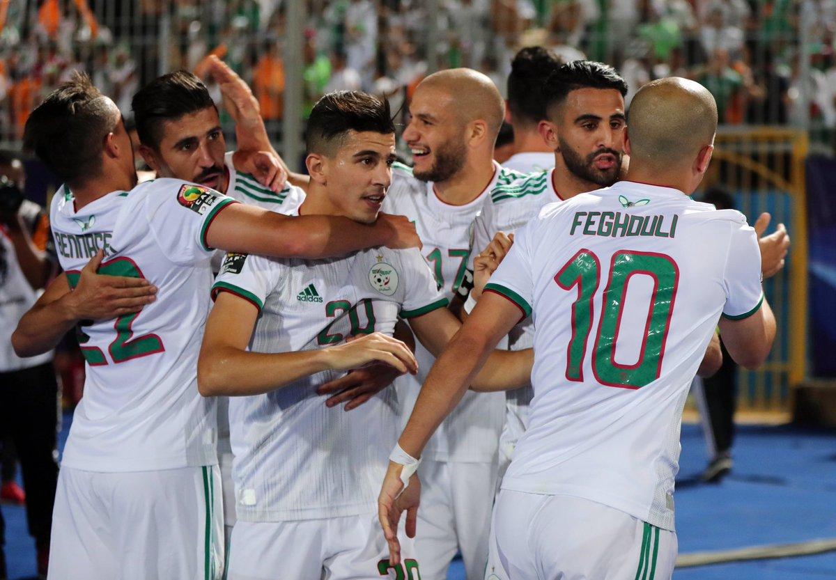 الجزائر تتخطى غينيا بثلاثية وتتأهل لدور الـ 8 في كأس إفريقيا 2019