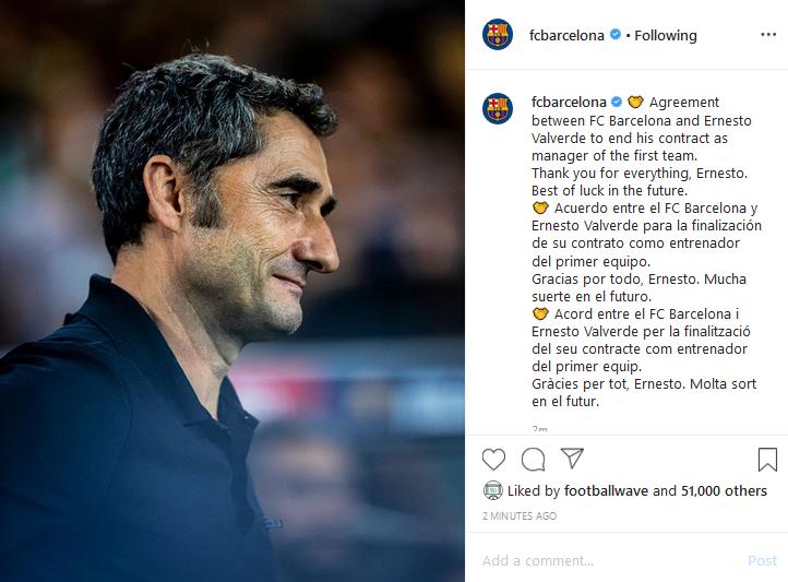 عاجل ورسمياً … نادي برشلونة يُقيل المدرب ارنستو فالفيردي