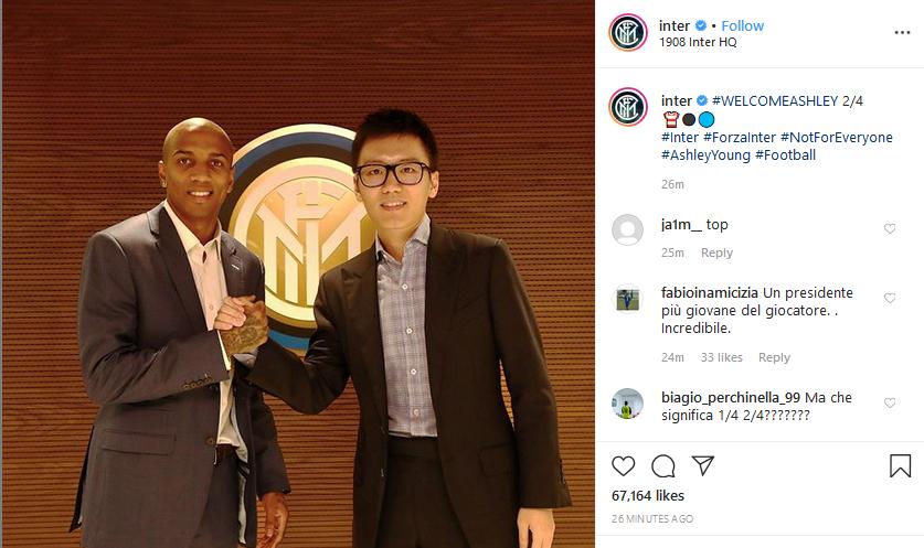رسمياً … إنتر ميلان يضم أشلي يونغ من مانشستر يونايتد
